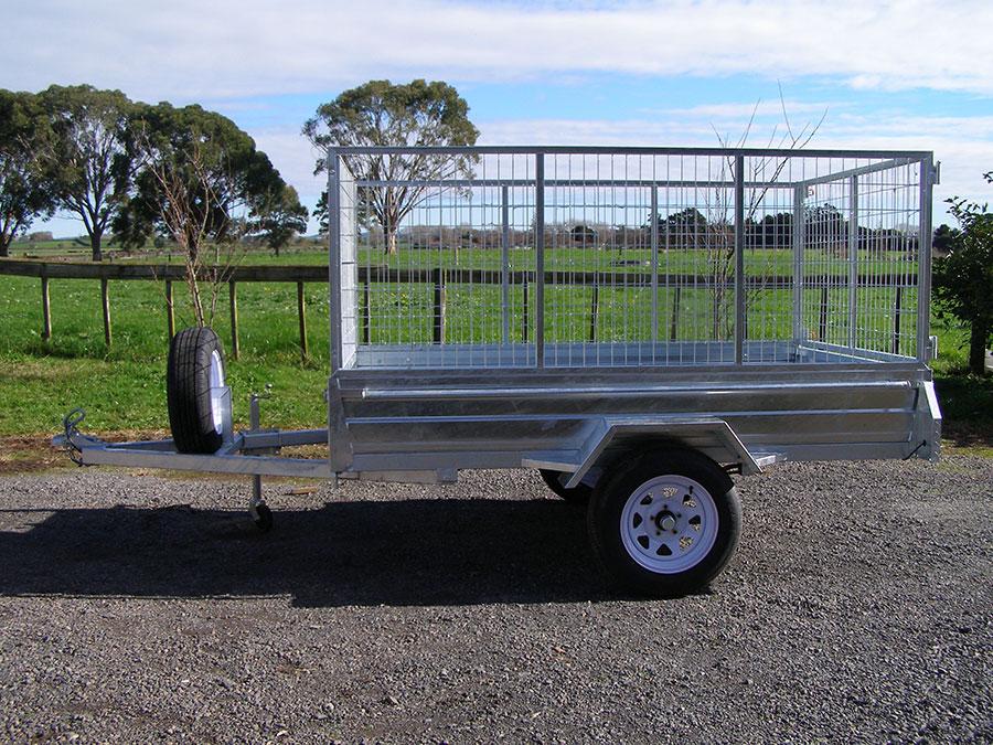 galvanized caged box trailer