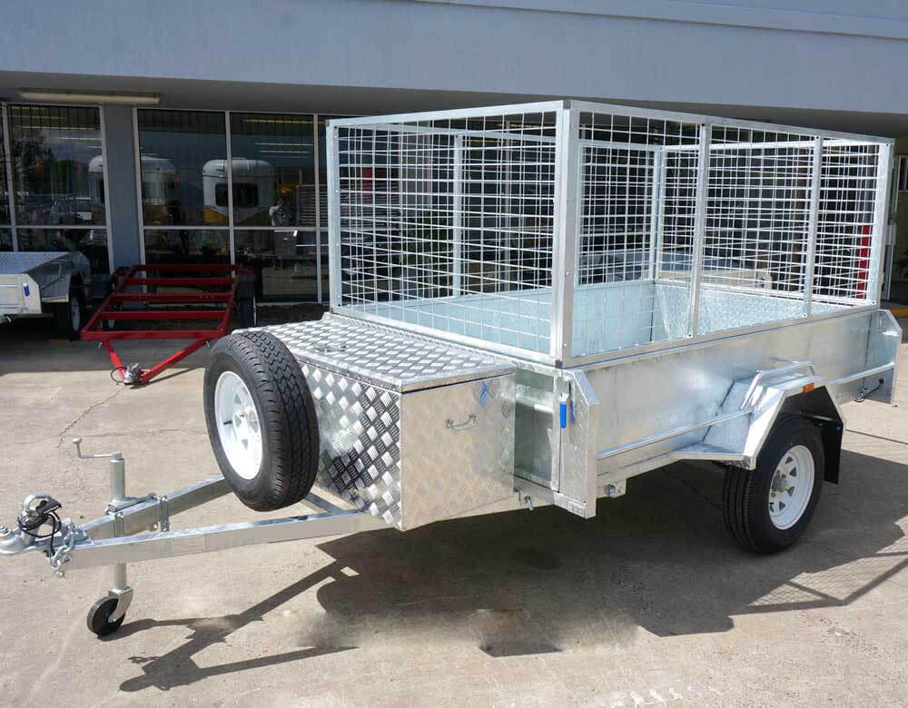 galvanized caged box trailer